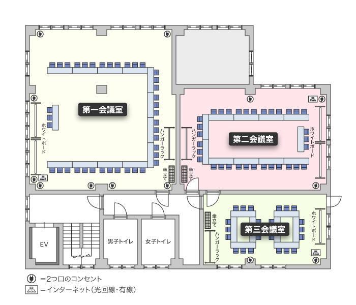 鶴見駅前(54名収容) 第二会議室 プロジェクターセット無料 Wi-Fi完備
