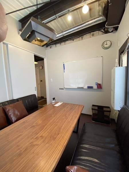 【スタッフ・利用毎除菌徹底】Caféの2階会議室(会議室2)有人受付、30分単位、Wifi、PCモニタ