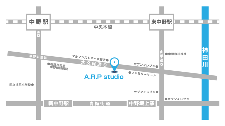 中野坂上A2出口から徒歩7分!JR中野駅 東中野駅からも徒歩圏内です!ダンス、ヨガ、舞台稽古、撮影、勉強会、トークライブ、その他、様々な用途でお使いできる、都内トップクラスの格安価格で提供できるスペースです!の写真